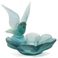 Art Glass:Other , FRENCH PATE-DE-VERRE ASHTRAY. Blue pate-de-verre ashtray withapplied bird with raised wings, circa 1950. 7-5/8 inches high ...