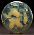 Art Glass:Lalique, R. LALIQUE YELLOW OPALESCENT GLASS GRAND CYPRINS BOX WITHORIGINAL FABRIC BASE . Circa 1921. Molded: R. LALIQUE ...