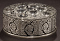 Art Glass:Lalique, R. LALIQUE FROSTED GLASS AND ENAMEL ROGER BOX . Circa 1926.Molded: LALIQUE. 5-3/8 inches diameter (13.5 cm). ...