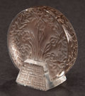 Art Glass:Lalique, LALIQUE CLEAR GLASS BLEUETS SEAL WITH GREY PATINA . Post1945. Engraved: Lalique. 1-3/4 inches high (4.4 cm)...