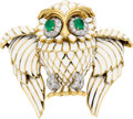 Estate Jewelry:Brooches - Pins, Enamel, Emerald, Diamond, Platinum, Clip-Gold Brooch, David Webb....