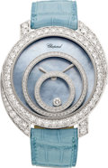 Estate Jewelry:Watches, Chopard Diamond, White Gold, Leather Strap Happy Spirit Wristwatch,modern. ...