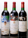 Red Bordeaux, Chateau Mouton Rothschild. Pauillac. 1982 bn, wisl Bottle (1). 1985 bn, lbsl Bottle (1). 1986 bn, lbsl Bottl... (Total: 3 Btls. )