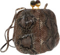 Luxury Accessories:Bags, Judith Leiber Snakeskin Bag with Shoulder Strap. ...