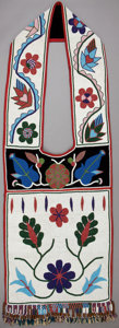 American Indian Art:Beadwork and Quillwork, A CHIPPEWA BEADED HIDE BANDOLIER. c. 1900...