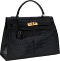 Luxury Accessories:Bags, Hermes 32cm Black Shiny Porosus Crocodile Sellier Kelly Bag withGold Hardware. ...