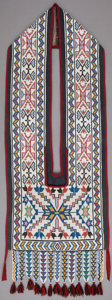 American Indian Art:Beadwork and Quillwork, A POTAWATOMIE BEADED CLOTH BANDOLIER BAG. c. 1890...
