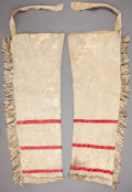American Indian Art:Beadwork and Quillwork, A PAIR OF SIOUX QUILLED HIDE LEGGINGS. c. 1890...