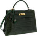 Luxury Accessories:Bags, Hermes 32cm Shiny Vert Emerald Porosus Crocodile Sellier Kelly Bagwith Gold Hardware. ...