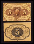 Fractional Currency:First Issue, Fr. 1231SP 5¢ First Issue Narrow Margin Pair Fine. ... (Total: 2 notes)