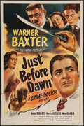"Movie Posters:Mystery, Just before Dawn (Columbia, 1946). One Sheet (27"" X 41""). Mystery.. ..."