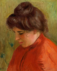 PIERRE-AUGUSTE RENOIR (French, 1841-1919) Gabrielle en Rouge, 1903 Oil on canvas 16 x 13 inches (