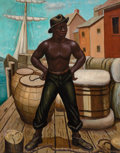 Texas:Early Texas Art - Modernists, SAMUEL A. COUNTEE (American, 1909-1959). The Longshoreman(African-American Dock Worker), 1940. Oil on canvas. 42 x 33i...