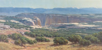 CLYDE ASPEVIG (American, 1951) Southwestern Landscape Oil on canvas 30-1/2 x 60-1/4 inches (77.5