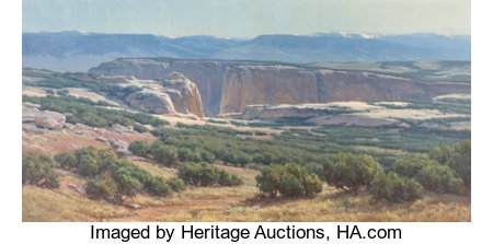 CLYDE ASPEVIG (American, 1951)Southwestern LandscapeOil on canvas30-1/2 x 60-1/4 inches (77.5 x 153.0 cm)Signed ...