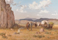 Paintings, MELVIN CHARLES WARREN (American, 1920-1995). Breaking Camp (in the Davis Mountains), 1967. Oil on canvas. 28 x 40 inches...
