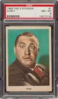 "Non-Sport Cards:Singles (Post-1950), 1959 Fleer ""Three Stooges"" Curly #1 PSA NM-MT 8 - Scarce grey backVariety! ..."