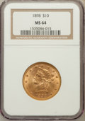 Liberty Eagles: , 1898 $10 MS64 NGC. NGC Census: (125/38). PCGS Population (63/8).Mintage: 812,197. Numismedia Wsl. Price for problem free N...