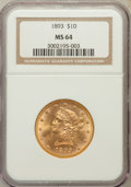 Liberty Eagles: , 1893 $10 MS64 NGC. NGC Census: (701/28). PCGS Population (225/4). Mintage: 1,840,895. Numismedia Wsl. Price for problem fre...