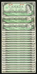 Canadian Currency: , BC-45a $1 1867-1967 Twenty-one Examples.. ... (Total: 21 notes)
