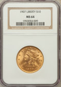 Liberty Eagles: , 1907 $10 MS64 NGC. NGC Census: (1054/89). PCGS Population (640/16).Mintage: 1,203,973. Numismedia Wsl. Price for problem f...