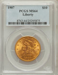 Liberty Eagles: , 1907 $10 MS64 PCGS. PCGS Population (640/16). NGC Census:(1054/89). Mintage: 1,203,973. Numismedia Wsl. Price for problem...