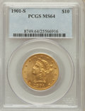 Liberty Eagles: , 1901-S $10 MS64 PCGS. PCGS Population (3466/1112). NGC Census:(3777/1505). Mintage: 2,812,750. Numismedia Wsl. Price for p...