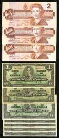 Canadian Currency: , 1937 $1s and 1986 $2s.. ... (Total: 10 notes)