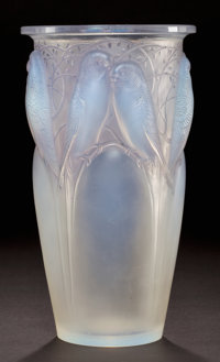 R. LALIQUE OPALESCENT GLASS CEYLAN VASE WITH GREY PATINA Circa 1924 Stamped: