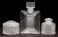 Art Glass:Lalique, LALIQUE CLEAR AND FROSTED GLASS DUNCAN PERFUME BOTTLE ANDENFANTS BOX AND PERFUME BOTTLE . Post 1945... (Total: 3Items)