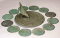 Sculpture, AN AMERICAN BRONZE GARDEN SUNDIAL AND CORRESPONDING HOUR PLAQUES. Tiffany Studios, Corona, New York, 1920s. Marks: TIFFANY...
