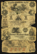 Obsoletes By State:Massachusetts, A Quartette of Well Circulated Obsolete Notes.. ... (Total: 4 notes)
