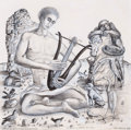 Texas:Early Texas Art - Modernists, KELLY FEARING (American, 1918-2011). Orpheus with Birds andAnimals, 1959. Carbon pencil and gouache on board. 10 x 10 i...