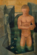 Texas:Early Texas Art - Modernists, KELLY FEARING (American, 1918-2011). Male Bather with Fish,1950. Oil on canvas. 17-3/4 x 11-3/4 inches (45.1 x 29.8 cm)...
