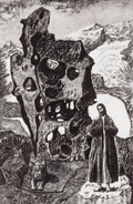 Texas:Early Texas Art - Modernists, KELLY FEARING (American, 1918-2011). Saint Jerome and Lion Abovea Glacier, Imaginary Portrait of Bill Bomar, 1995. Etch...