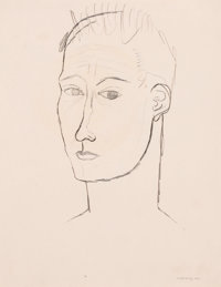KELLY FEARING (American, 1918-2011) Self-Portrait, 1947 Pencil on cream cameo paper 14 x 11 inche