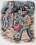 Works on Paper, KELLY FEARING (American, 1918-2011). Jitterbuggers, 1939. Watercolor on paper. 20-3/8 x 16-1/2 inches (51.8 x 41.9 cm). ...