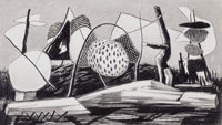 WILLIAM LEWIS LESTER (American, 1910-1991) Drawing #2, 1944 Pencil on paper 13 x 21-1/2 inches (3