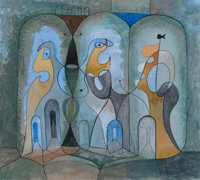 BROR ALEXANDER UTTER (American, 1913-1993) Abstract Figures, 1947 Watercolor and gouache on paper