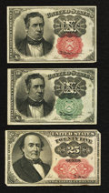 Fractional Currency:Fifth Issue, Fr. 1264 10¢ Fifth Issue Very Fine;. Fr. 1266 10¢ Fifth IssueExtremely Fine;. Fr. 1309 25¢ Fifth Issue Very Fine.. ... (Total: 3notes)