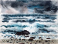 Texas, MICHAEL FRARY (American, 1918-2005). The Wave. Watercolor onpaper. 18 x 24 inches (45.7 x 61.0 cm) (paper). Signed lowe...