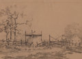 Texas:Early Texas Art - Drawings & Prints, JULIAN ONDERDONK (American, 1882-1922). Farm Sketch. Pencilon paper. 5-3/4 x 7-1/2 inches (14.6 x 19.1 cm). Signed lowe...