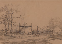 JULIAN ONDERDONK (American, 1882-1922) Farm Sketch Pencil on paper 5-3/4 x 7-1/2 inches (14.6 x 1