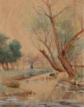 Texas:Early Texas Art - Drawings & Prints, ROBERT JENKINS ONDERDONK (American, 1853-1917). Landscape withFigure and Stream, 1897. Watercolor on paper. 10-1/4 x 8-...