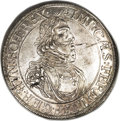German States:Augsburg, German States: Augsburg. Ferdinand III Taler 1642, KM77, Davenport 5039, toned XF-AU, tiny obverse planchet flaw, an attractive example of ...