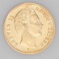 German States:Bavaria, German States: Bavaria. Ludwig II gold 5 Mark 1877-D, KM506,lustrous XF, some light hairline scratches on the obverse, scarcetype....