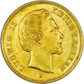 German States:Bavaria, German States: Bavaria. Ludwig II gold 5 Mark 1877-D, KM506, choiceAU-UNC, very lightly toned....