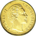 German States:Bavaria, German States: Bavaria. Ludwig II gold 5 Mark 1878-D, KM506, AU55ANACS, a nice lustrous example of this rare date with just a fewsmall su...