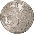 German States:Saxe-Old-Gotha, German States: Saxe-Old Gotha. Johan Casimir Broad 2 Taler 1627-WA,Davenport LS417, Obv: Duke on horseback; Rev: Helmeted arms. SharpAU w...