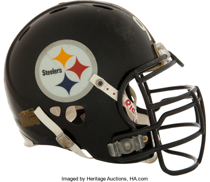 5c208596bc7 ... Football Collectibles:Helmets, 2009 James Harrison Game Worn, Signed  Pittsburgh Steelers SuperBowl XLIII ...